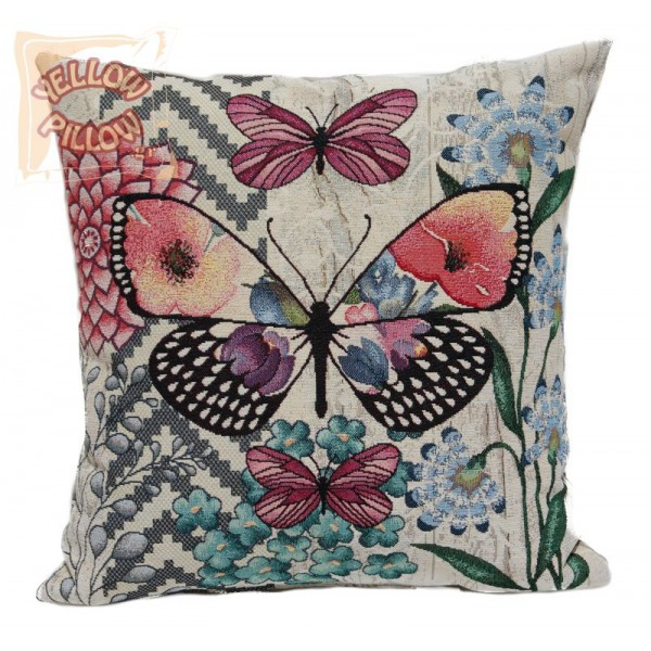 Διακοσμητικό μαξιλάρι ταπισερί-στόφα - Πεταλούδες 002