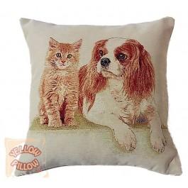 Διακοσμητικό μαξιλάρι ταπισερί-στόφα - Σκυλάκι & γατάκι 011