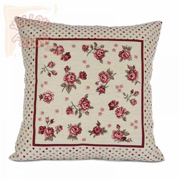 Διακοσμητικό μαξιλάρι καναπέ 45Χ45 ταπισερί με λουλούδια - 014