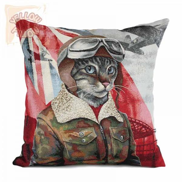 Διακοσμητικό μαξιλάρι καναπέ ταπισερί 45X45 - Γάτος αεροπόρος 029