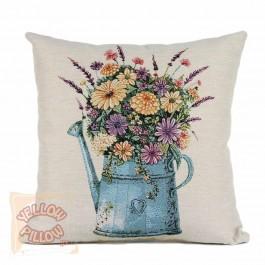 Διακοσμητικό μαξιλάρι καναπέ στόφα 45X45 - Ποτιστήρι με λουλούδια 004