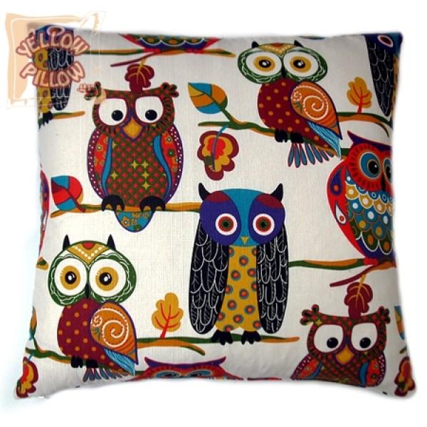 Διακοσμητικό μαξιλάρι καναπέ 70Χ70 - Κουκουβάγιες 006